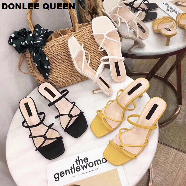 Summer Style Chunky Heel Narrow Band Cross-tie Sandals