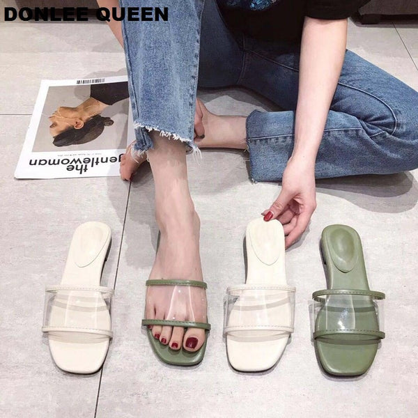 Flat Casual  Slip On Transparent Sandals Rubber