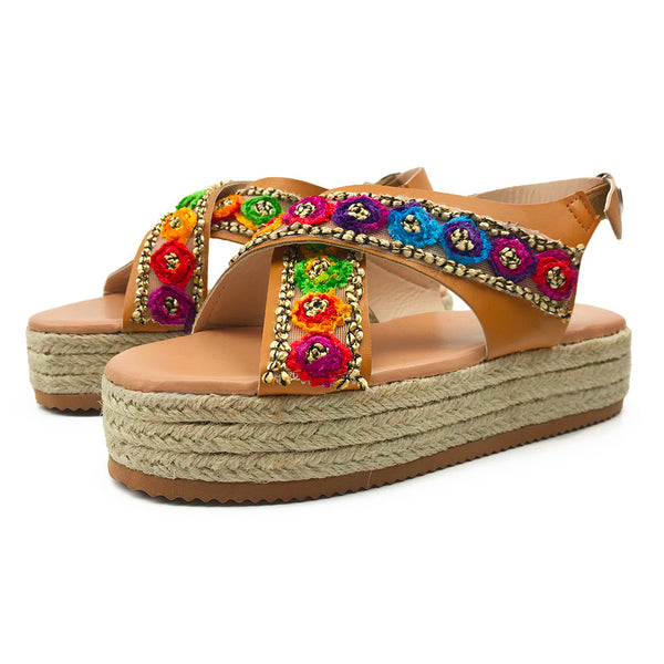 Flowers Cross Belt Buckle Thick Leather Sandals