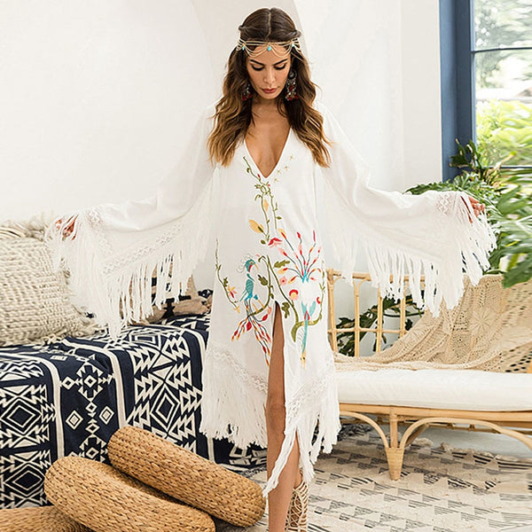 Tassel Floral Embroidery Cover Up