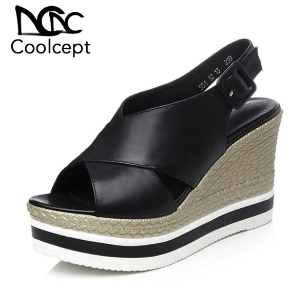 Genuine Leather Wedges Sandals 2 Colors