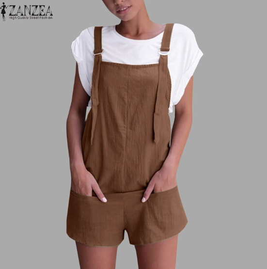 Vintage Cotton Linen  Casual Sleeveless Jumpsuits
