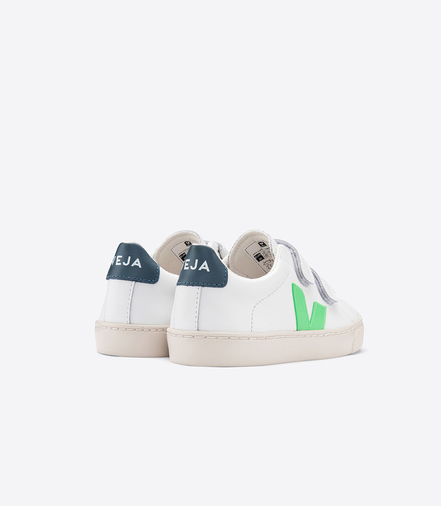 Veja 'Esplar' Velcro Leather  I  White & Absinthe