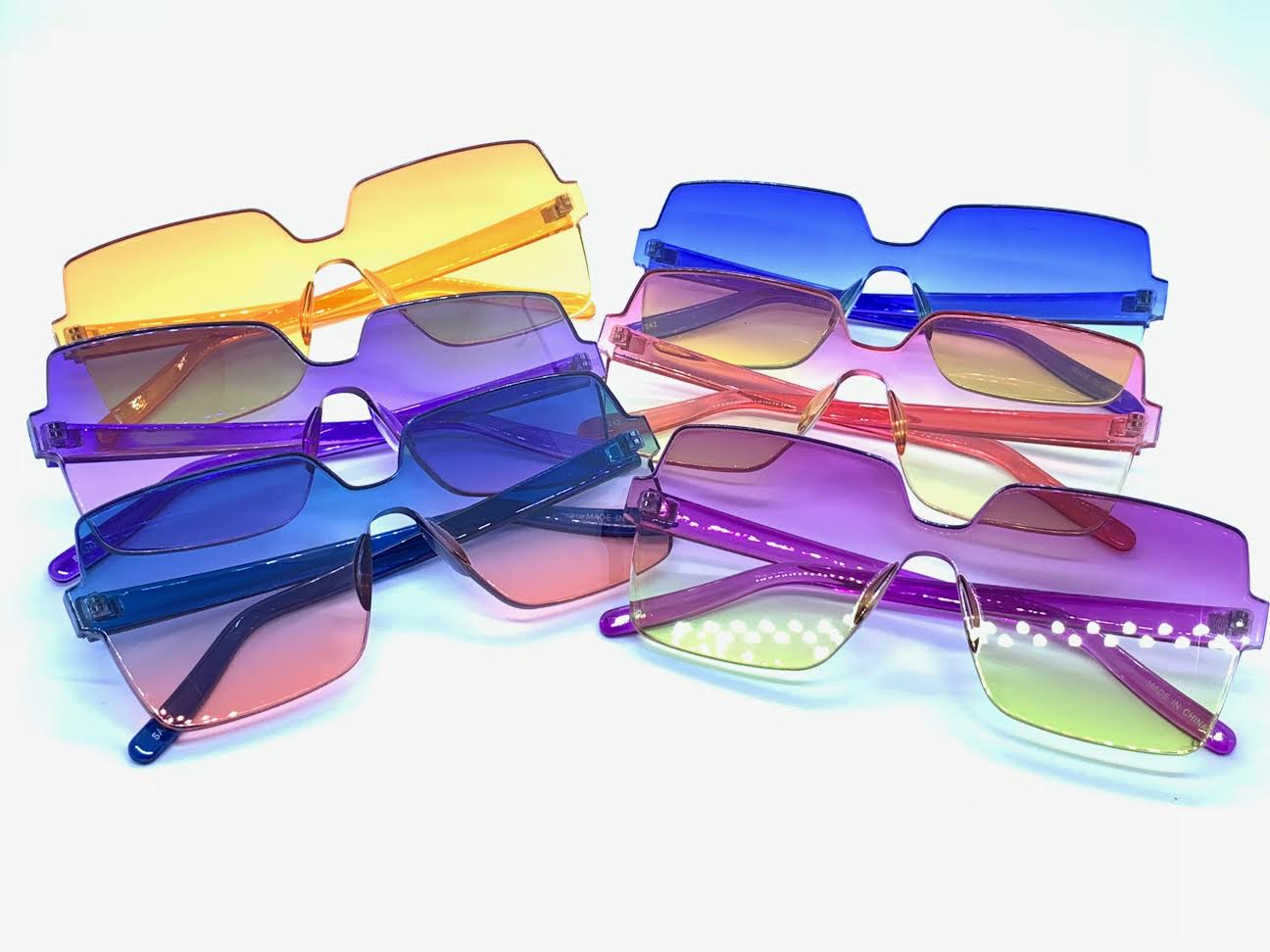 Colored Lens Square Shaped Frameless Sunglasses