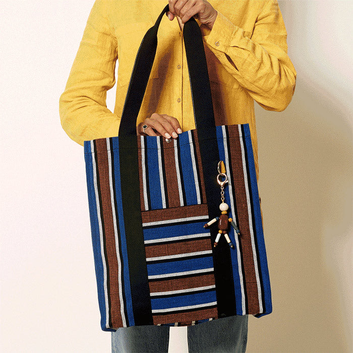 Bassi Market Tote - Blue & Rust Stripe - By Goodee