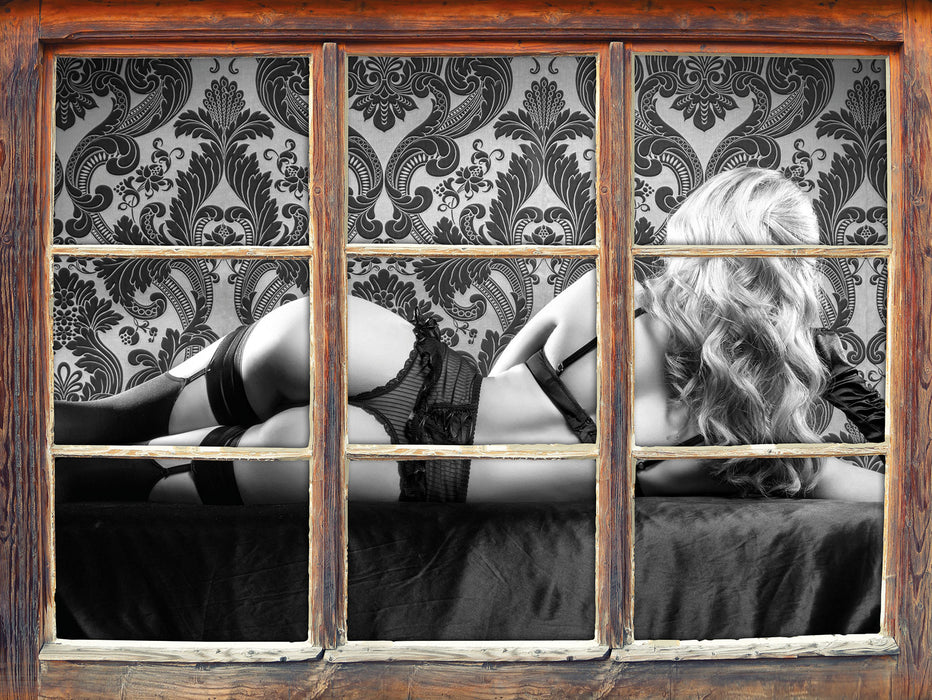 Frau in sexy Dessous 3D Wandtattoo Fenster