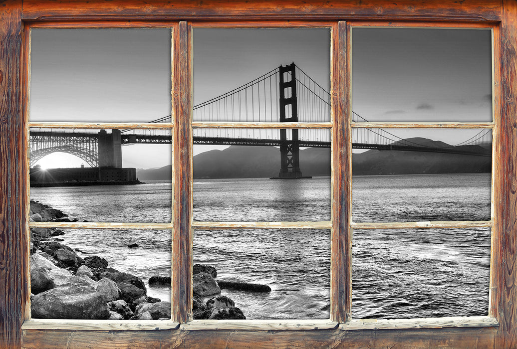 Imposante Golden Gate Bridge 3D Wandtattoo Fenster