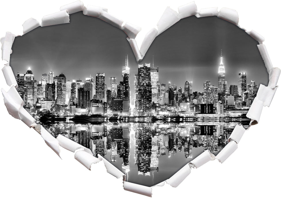 Manhattan Skyline 3D Wandtattoo Herz