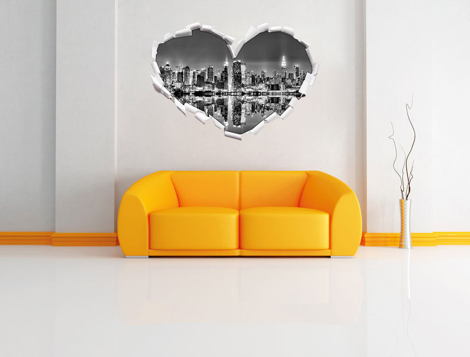 Manhattan Skyline 3D Wandtattoo Herz Wand