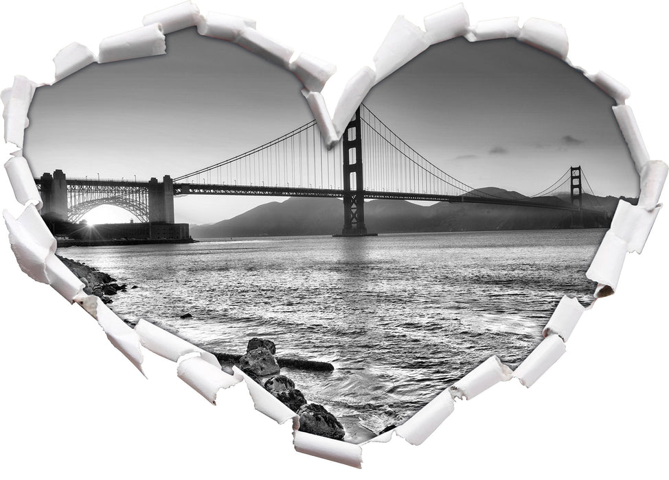 Imposante Golden Gate Bridge 3D Wandtattoo Herz