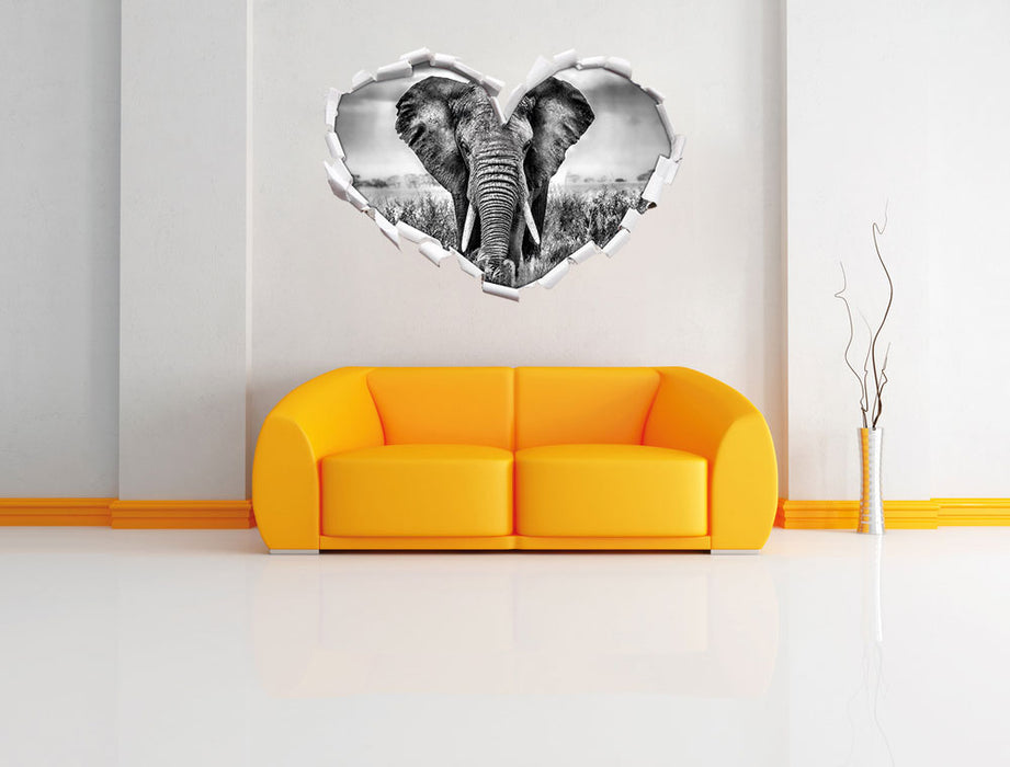 Imposanter Elefant 3D Wandtattoo Herz Wand