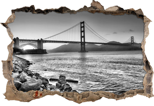 Imposante Golden Gate Bridge 3D Wandtattoo Wanddurchbruch
