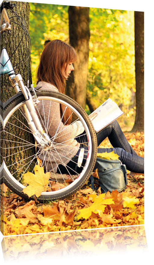 Teenager Girl with Bike Leinwandbild