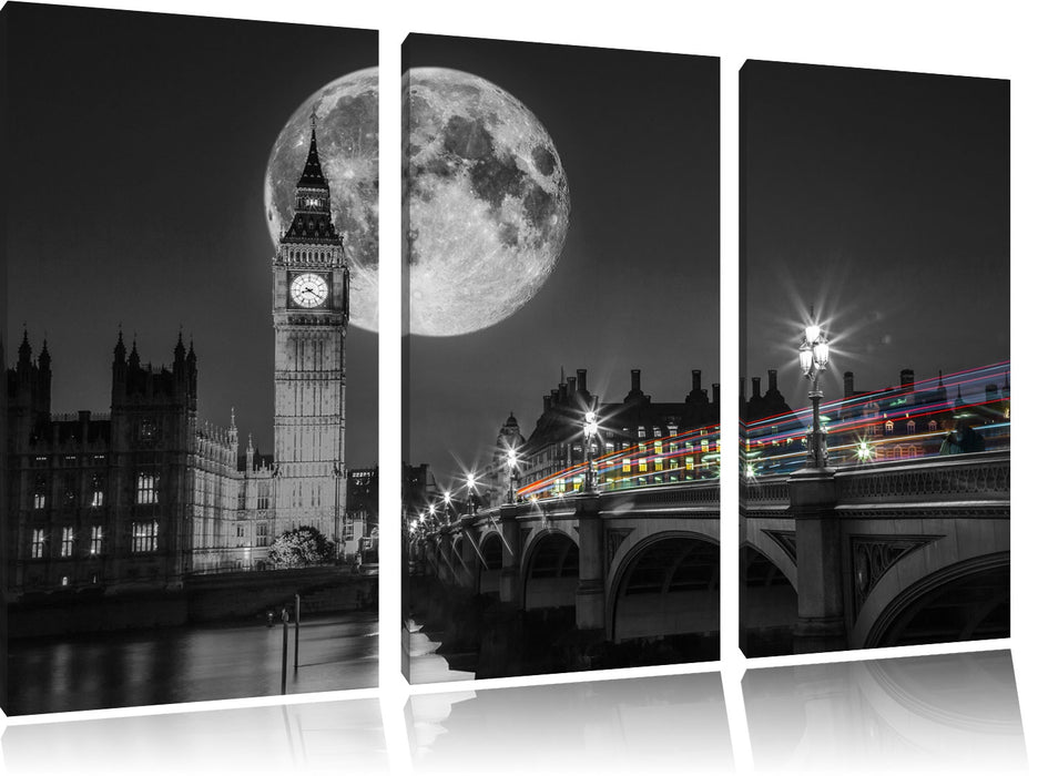 Big Ben mit Mond London Leinwandbild 3 Teilig