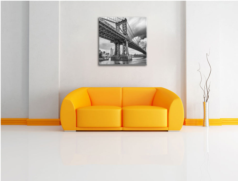 Manhattan Bridge New York Leinwandbild Quadratisch über Sofa