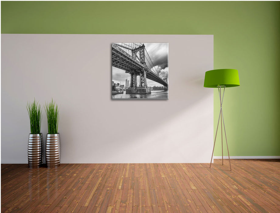 Manhattan Bridge New York Leinwand Quadratisch im Flur