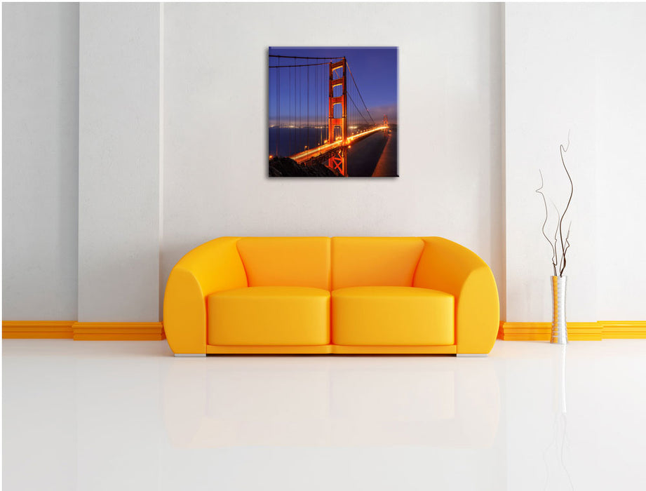 Golden Gate Bridge San Francisco Leinwandbild Quadratisch über Sofa