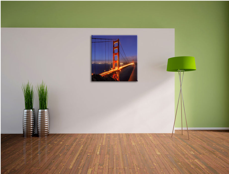 Golden Gate Bridge San Francisco Leinwand Quadratisch im Flur