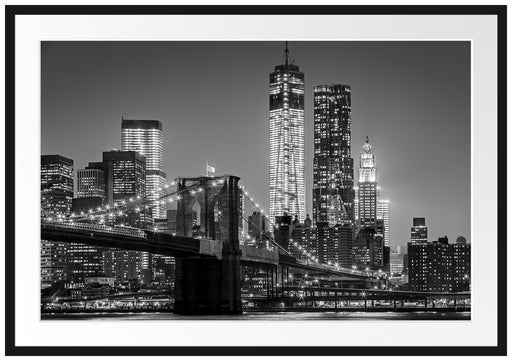New York City Skyline bei Nacht Passepartout 100x70