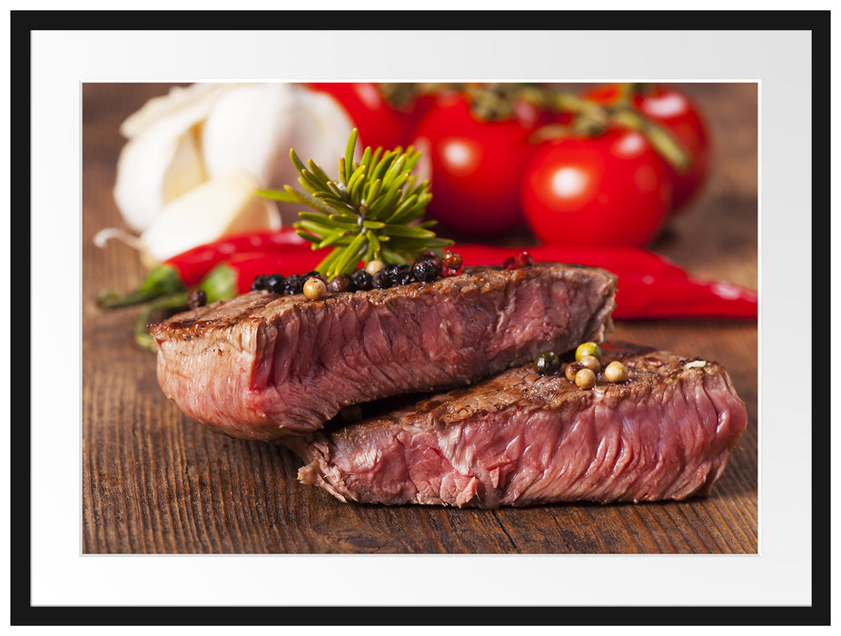 Saftiges Pfeffer Steak Passepartout 80x60