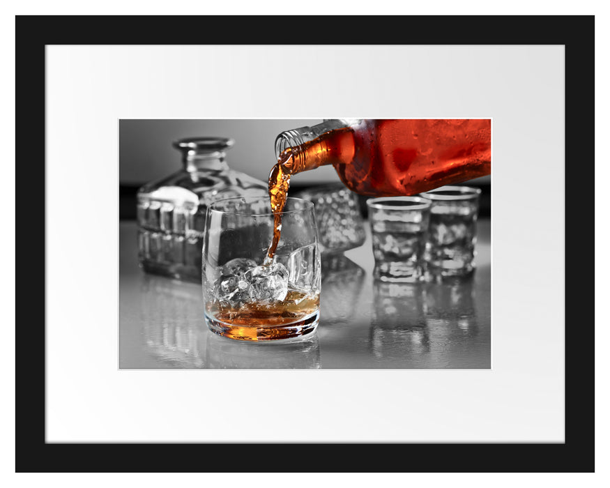 Whiskey im Whiskeyglas Passepartout 38x30