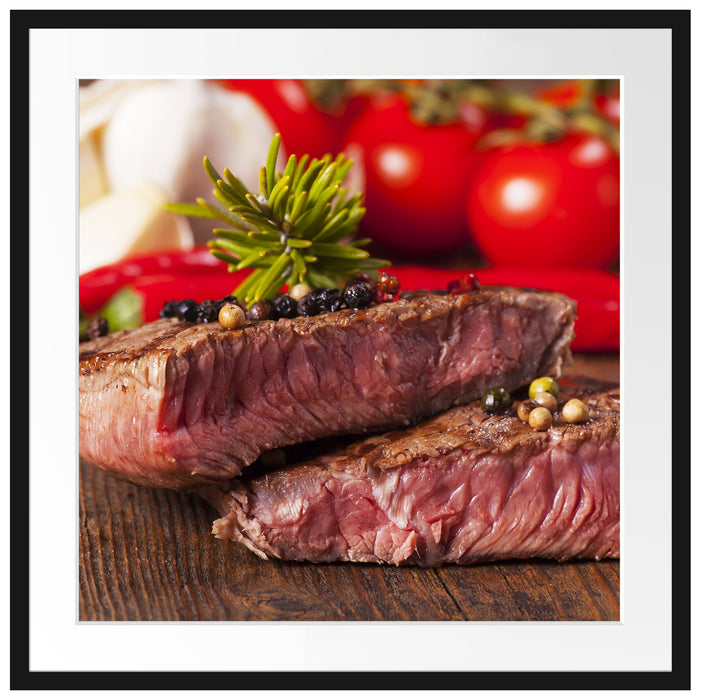 Saftiges Pfeffer Steak Passepartout Quadratisch 70x70