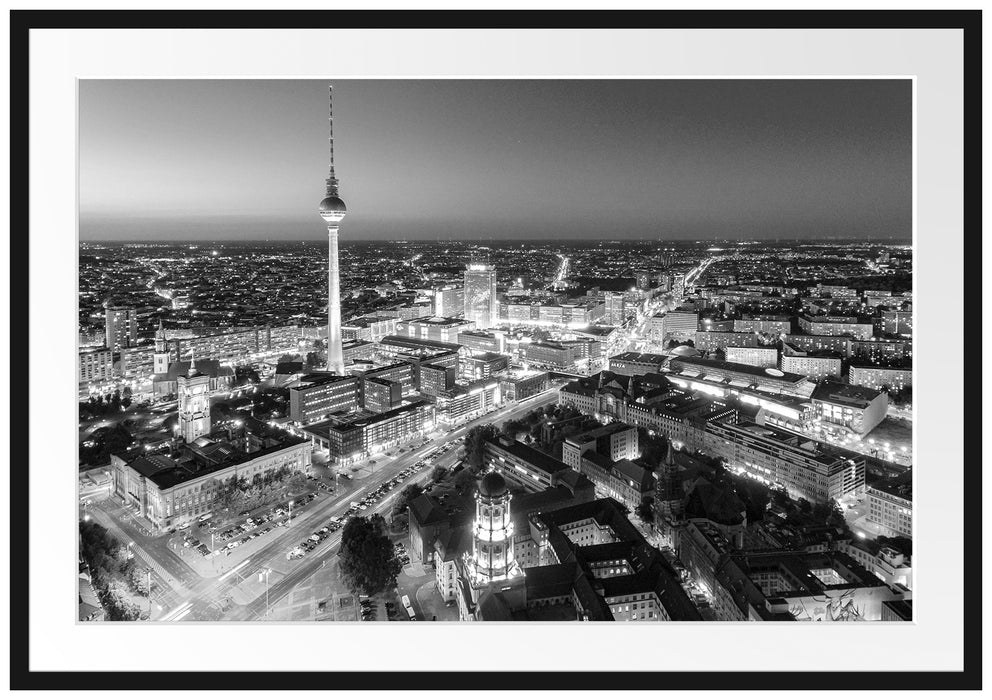 Berlin City Panorama Kunst B&W Passepartout 100x70