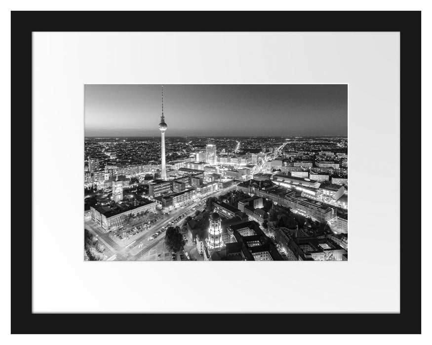 Berlin City Panorama Kunst B&W Passepartout 38x30