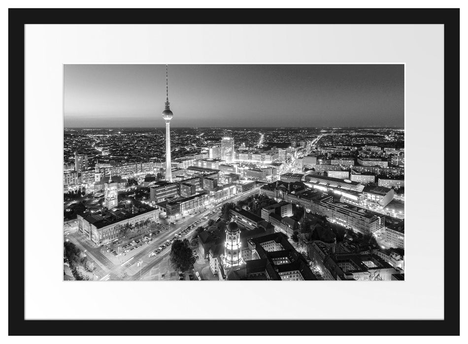 Berlin City Panorama Kunst B&W Passepartout 55x40