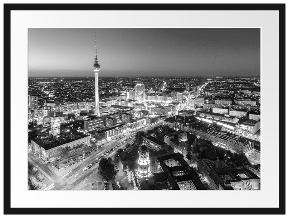 Berlin City Panorama Kunst B&W Passepartout 80x60