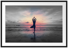 Yoga am Strand Passepartout 100x70