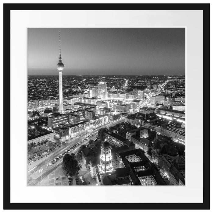 Berlin City Panorama Kunst B&W Passepartout Quadratisch 55x55