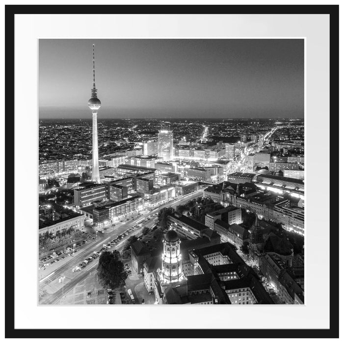 Berlin City Panorama Kunst B&W Passepartout Quadratisch 70x70