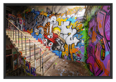 Coloured Streetart Graffiti Schattenfugenrahmen 100x70