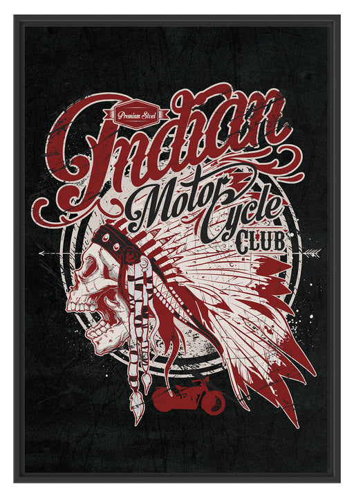 Indian motorcycle-Club black Schattenfugenrahmen 100x70