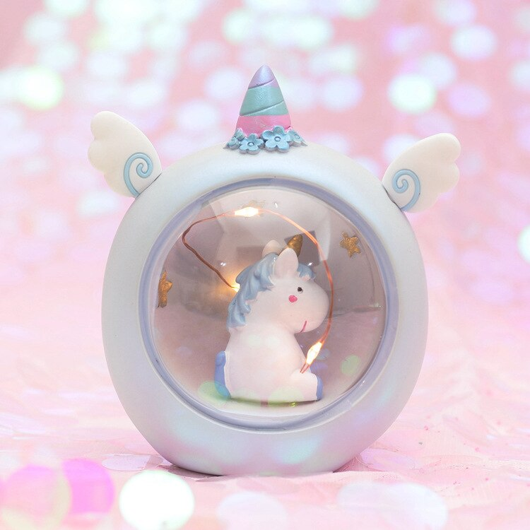 Resin Moon Unicorn LED Night Light Cartoon Baby Nursery Lamp Breathing Children Toy Christmas Gift Kids Room Craft Table Lights