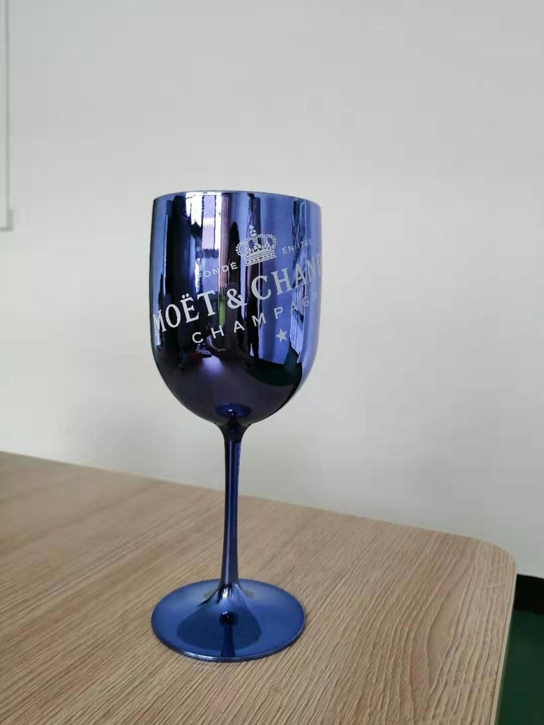 Blue Plastic champagne glass wine PARTY Cocktail glass MOET beautiful Glasses one piece