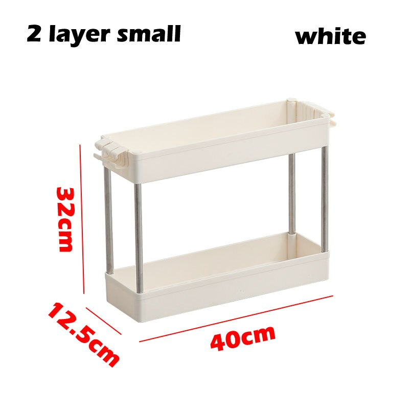 2/3/4 Layer Gap Kitchen Storage Rack Slim Slide Tower Movable Assemble Plastic Bathroom Shelf Wheels Space Saving Organizer