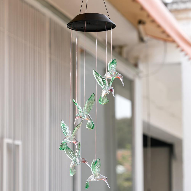 Color Christmas Window Wind Chime Hanging Lamp Changing LED Solar Powered Hummingbird Wind Chime Light Yard Garden Deco
