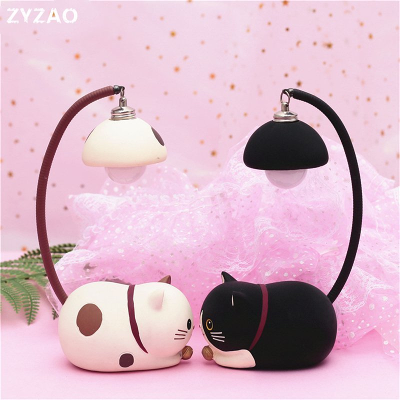 Creative Resin Cartoon Cat Night Lights Girls Birthday Gift Children Baby Kids Room Dormitory Desktop Decoration Led Night Lamps