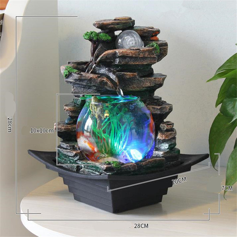 Resin Water Fountains Feng Shui Wheel Fish Tank LED Light Ball Home Office Tabletop Water Fountain Figurines Decoration