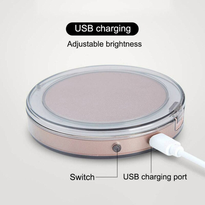Mini Portable LED Light Makeup Mirror 1X 3X Amplification USB Charging Touch Induction Handheld Folding Mirror Night Light