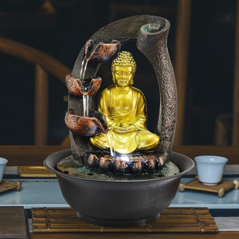 Buddha Statue Decorative Fountains Indoor Water Fountains Resin Crafts Gifts Feng Shui Desktop Home Fountain 110V 220V E