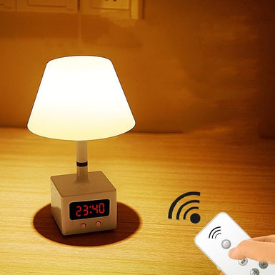 LED remote control desk lamp USB charging with clock table lamp dimmable bedroom bedside home night light