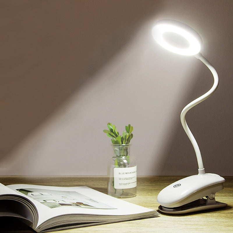 Portable LED Desk Lamp Touch On/Off Switch Eye Protection Clip Table Light 3 Modes Dimmable USB Rechargeable Desk Lights