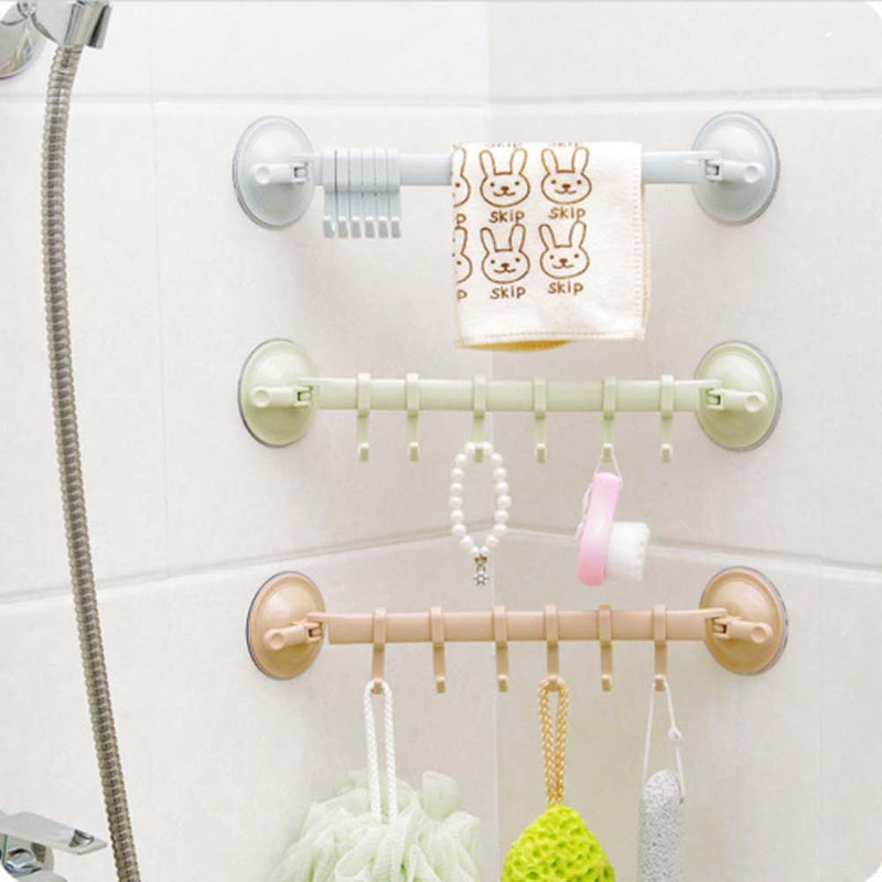 Adjustable 6 Hooks Double Suction Cup Towel Hanger Rack Hanging Shelves Holders Lock Type Sucker Bathroom Hook Organizer