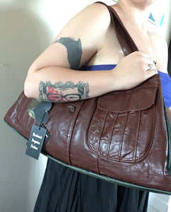 Redish Brown Vintage Leather Jacket Purse