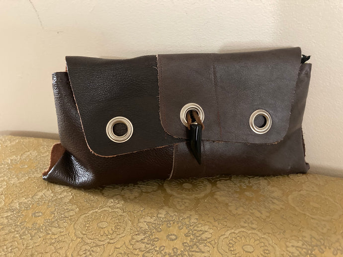 Brown Triple Grommet Clutch
