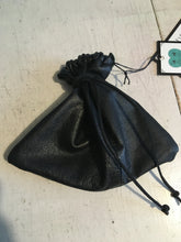 Load image into Gallery viewer, small black reclaimed leather dice bag