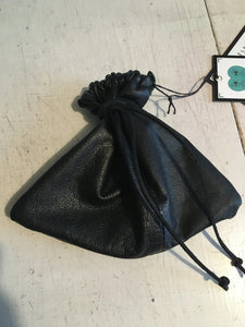 small black reclaimed leather dice bag